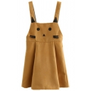 Youthful Strap Dress Whiskered Cat Embroidered Pattern Pleated Sleeveless Relaxed Fitted Strap Dress for Women