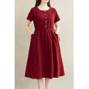 Leisure Women's A-Line Dress Solid Color Drawstring Waist Button Detail Chest Pocket Round Neck Short Sleeves Regular Fitted Midi A-Line Dress