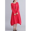 All-Match Swing Dress Solid Color Side Pockets Crew Neck Long-sleeved Relaxed Fit Long Swing Dress for Women