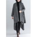 Fashionable Women's Coat Houndstooth Pattern Asymmetrical Pocket Open Front Long Sleeves Relaxed Fit Coat