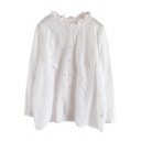 Vintage Womens Shirt Floral Embroidered Stringy Selvedge Detail Button up Stand Collar Long Sleeve Loose Fit Shirt