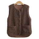 Basic Womens Vest Solid Color Front Double-Pocket Zipper down Regular Fit Round Neck Sleeveless Sherpa Vest