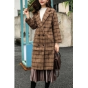 Creative Womens Pea Coat Plaid Pattern Mid-Length Double Breasted Long Sleeve Notched Lapel Collar Loose Fit Woolen Coat