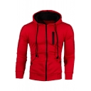 Novelty Mens Hoodie Contrasted Topstitching Drawstring Zipper up Slim Fitted Long Sleeve Hoodie