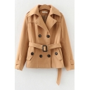 Womens Jacket Unique Solid Color Button Decoration Buckle Belted Long Sleeve Wide Lapel Collar Slim Fit Woolen Coat