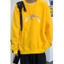 Mens Sweatshirt Trendy Doodle Rainbow Pattern Drop Shoulder Loose Fit Long Sleeve Crew Neck Pullover Sweatshirt