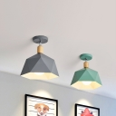 Faceted Shade Metal Ceiling Light Macaron 1 Head Grey/White/Green and Wood Semi Flush Mount with Adjustable Joint