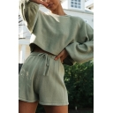 Basic Womens Sweater Shorts Sets Plain Drawstring Long Bishop Sleeve Round Neck Loose Fitted Co-ords