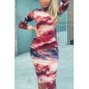 Classic Womens Dress Abstract Painting Mock Neck Long Sleeve Slim Fitted Midi Bodycon Dress