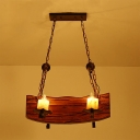 Wood Brown Finish Island Lighting Candle Style 4 Heads Nautical Hanging Ceiling Light