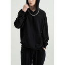 Fashion Thick Hooded Sweatshirt Solid Color Drawstring Big Pocket Long Sleeve Oversize Fitted Hoodie for Men