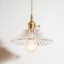 Brass 1-Bulb Pendant Light Rustic Clear/Amber Glass Bowl/Ruffle/Cone Shaded Pendulum Light for Dining Room