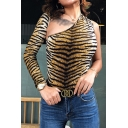 Unique Womens Bodysuit Tiger Striped Pattern Cut-out Detail One Shoulder Sloping Neckline Long Sleeve Slim Fitted Bodysuit
