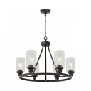 Industrial Wheel Chandelier 6 Bulbs Iron Hanging Ceiling Light with Cylinder Clear Glass Shade in Black
