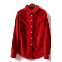 Novelty Womens Shirt Solid Color Cord Button up Point Collar Long Sleeve Regular Fit Shirt