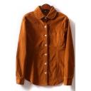 Basic Womens Shirt Plain Corduroy Button down Long Sleeve Ingot Collar Regular Fit Shirt