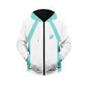 Mens Hooded Sweatshirt 3D Cosplay Trendy Contrast Leaf Letter Print Drawstring Long Sleeve Regular Fit Hooded Sweatshirt