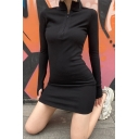 Womens Active Black Reflective Letter CHICOLOGY Print Long Sleeve Half Zip High Collar Bodycon Mini Dress