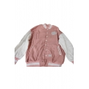 Fancy Pink Long Sleeve Stand Collar Button Down Color Block Embroidered Regular Fit Baseball Jacket