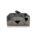 Designer Solid Color Irregular Geometry Pattern Metallic Evening Clutch Bag 17.5*9.5*3.3 CM