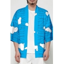 Mens Trendy Jacket Abstract Hill Cloud Pattern Bow Detail Cardigan 3/4 Sleeve Regular Fitted Kimono Jacket