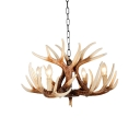 Brown 4/6/9 Bulbs Drop Lamp Lodge Resin Deer Horn Chandelier Lighting for Living Room