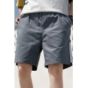 Mens Shorts Trendy Contrast Side Panel Cotton Knee-Length Drawstring Waist Regular Fitted Relaxed Shorts