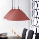 Yellow/Pink Cone Pendant Lighting Fixture Macaron 2 Bulbs Metal Hanging Lamp with Pulling Ring Chain