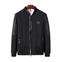 Men's Fashion Mesh Panel Zip Pocket Stand-Collar Zip Closure Fitted Jacket