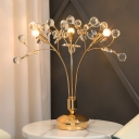 Simplicity 3 Lights Table Lamp Gold Orb LED Nightstand Lighting with Clear Faceted Crystal Shade