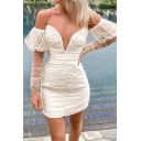 Retro Womens Dress Sequin Decoration Ruched Mesh Deep V Neck Mini Long Puff Sleeve off Shoulder Slim Fitted Bodycon Dress