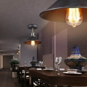 1-Head Semi Flush Ceiling Light Industrial Cone Shade Iron Flush Mount Lighting in Black