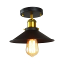 Iron Black and Brass Flush Mount Conical 1 Bulb Industrial Semi Flush Ceiling Light Fixture
