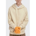 Autumn Thick Hoodie Drawstring Hood Solid Color Long Sleeve Hooded Sweatshirt for Men