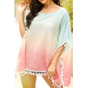 Girls Chic Pullover Shirt Tassel-Trim Ombre 3/4 Batwing Sleeve Round Neck Loose Blouse