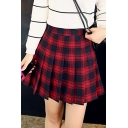Cool Cute Female Plaid Print Buckle Belt Pleated High Waisted Red A-Line Short Skirt with Chain Bag