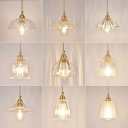 1-Light Ceiling Pendant Transitional Dining Room Hanging Light with Floral Clear Ribbed Glass Shade in Brass
