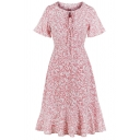 Womens Dress Chic Allover Leaf Pattern Keyhole Front Waist-Controlled Crew Neck Short Sleeve Slim Fitted Midi Mermaid Dress