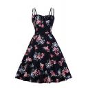 Retro Womens Dress Floral Leaf Pattern Tie Detail Midi A-Line Slim Fitted Spaghetti Strap Sleeveless Swing Dress