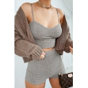 Novelty Womens Co-ords Plain Rib Knitted Slim Fitted Shorts Sleeveless Spaghetti Strap Cropped Camisole Co-ords