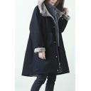 Womens Parkas Casual Contrast Lined Thickened Zipper up Hooded Mid-Length Loose Fit Long Sleeve Parkas