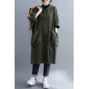 Trendy Girls Windbreaker Jacket Plain Pocket Button-down Full Sleeve Hooded Knee-Long Loose Coat