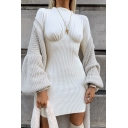 Womens Dress Trendy Rib Knitted Panel Zipper Detail Short Slim Fitted Round Neck Long Sleeve Bodycon Dress