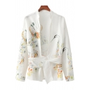 Womens Shirt Trendy Crane Floral Leaf Pattern Tie Detail Long Sleeve Stand Collar Slim Fitted Shirt
