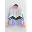 Retro Womens Jacket Color Block Cartoon Letter Pattern Drawstring Zipper down Loose Fit Long Sleeve Mock Neck Casual Jacket