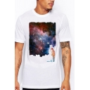 Basic Mens Tee Top Character Brush Stroke Galaxy Pattern Short Sleeve Regular Fitted Crew Neck Tee Top