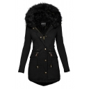 Casual Warm Black Long Sleeve Hooded Zip Buckle Detail Drawstring Slim Fit Long Puffer Coat for Female