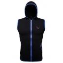 Mens Simple Logo Embroidery Contrast Trim Sleeveless Zip Up Hoodie