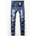 Metrosexual Men's Pleated Spliced Zip Fly Straight Jeans Faded Wash Denim Pants