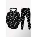 Mens Co-ords Trendy Scribble Pattern Regular Fitted Long Sleeve Hoodie Long Tapered Pants Jogger Co-ords